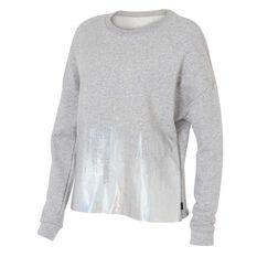 Reebok Womens Foil Print Crew Sweater Grey XS, Grey, rebel_hi-res