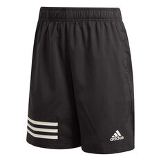 adidas Boys 3-Stripes Shorts Black / White 6, Black / White, rebel_hi-res