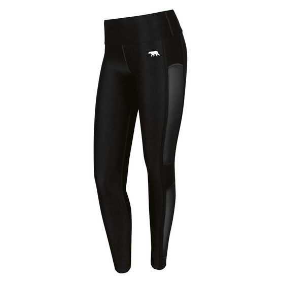 Running Bare Womens In the Zone High Rise Full Length Tights Black 16, Black, rebel_hi-res