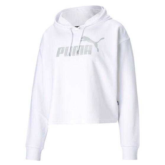 Puma Womens Essentials Cropped Metallic Hoodie, White, rebel_hi-res