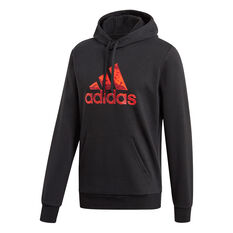 adidas Mens Fleece Hoodie Black S, Black, rebel_hi-res