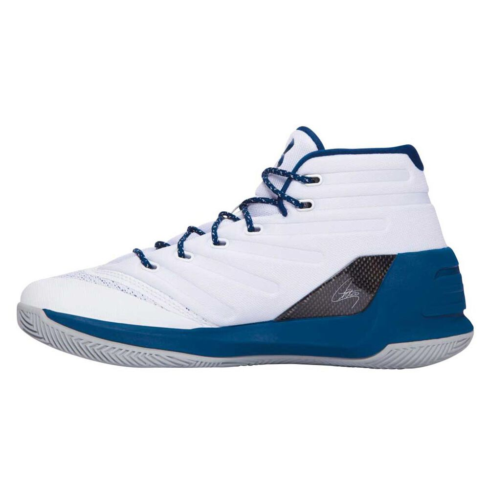 Under Armour Curry 3 Mens Basketball Shoes White   Blue US 7  1d1fdb5ae