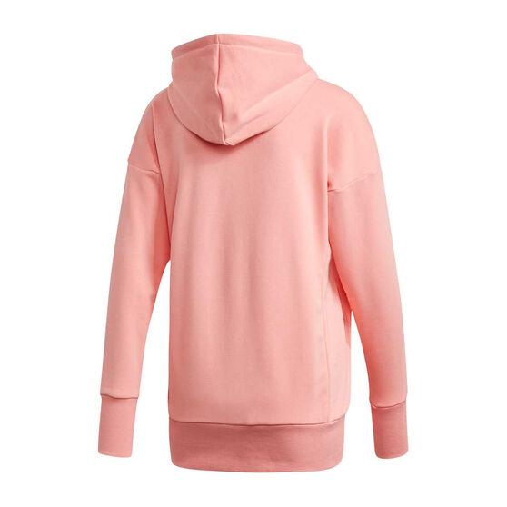 adidas Womens Badge of Sport Long Hoodie Pink XS, Pink, rebel_hi-res