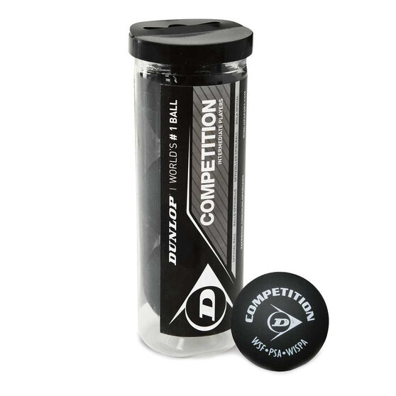 Dunlop Competition 3 Ball Tube Squash Balls, , rebel_hi-res