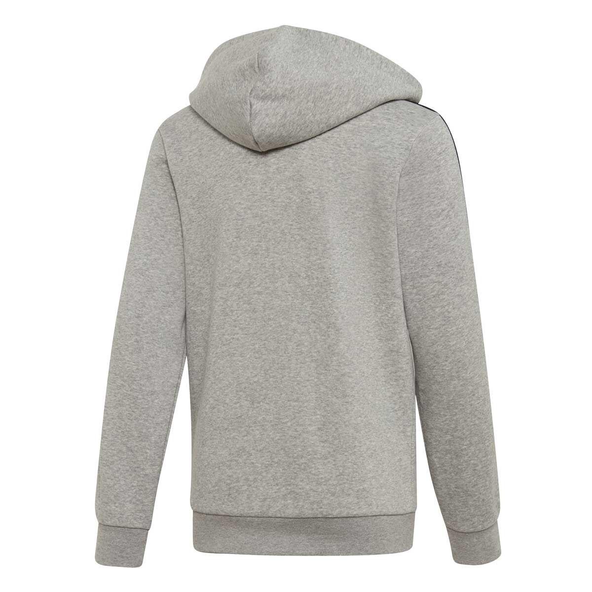 adidas Grey Essentials 3 Stripe Zip Through Hoody
