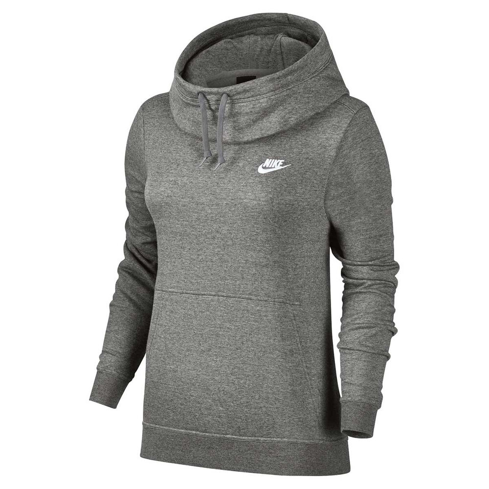 f0c2966ef4c5 Nike Womens Funnel Neck Hoodie Grey   White M Adult