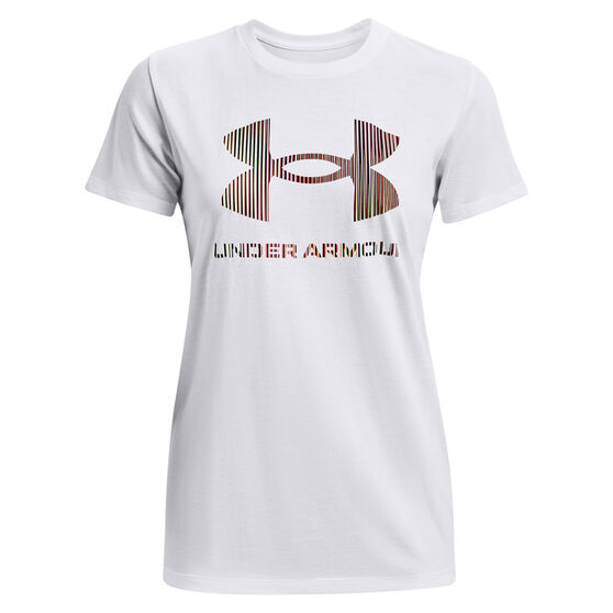 Under Armour Womens Sportstyle Graphic Tee, White, rebel_hi-res
