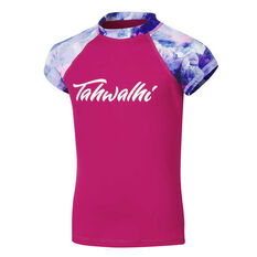 Tahwalhi Girls Break The Ice Rash Vest Pink 8, Pink, rebel_hi-res