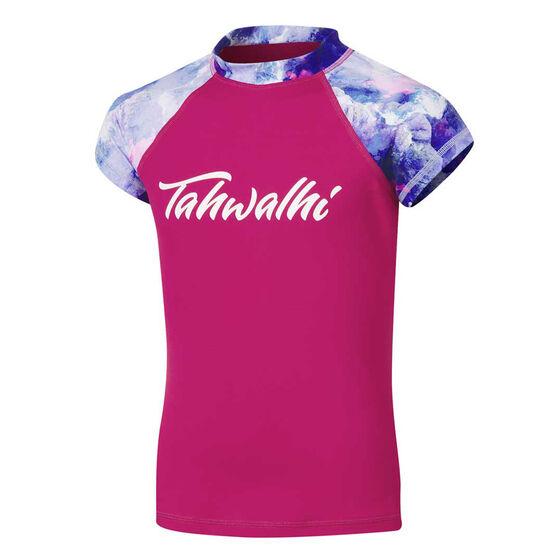 Tahwalhi Girls Break The Ice Rash Vest, Pink, rebel_hi-res