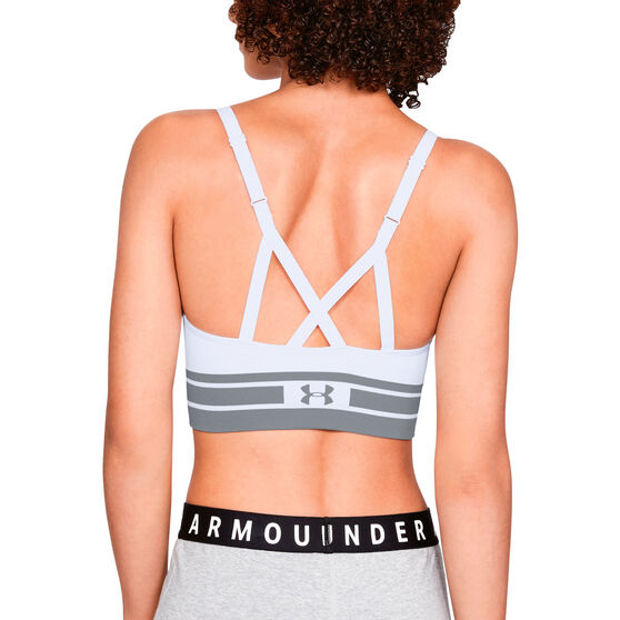 Under Armour Womens Seamless Longline Sports Bra, White / Grey, rebel_hi-res