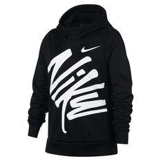 Nike Girls Therma Hoodie Black / White XS, Black / White, rebel_hi-res