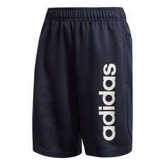 adidas Boys Linear Knit Training Shorts Navy / White 4, Navy / White, rebel_hi-res