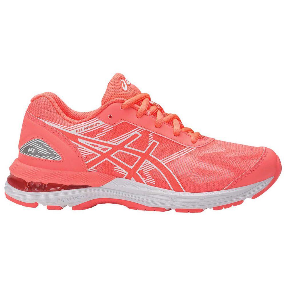 Asics GEL Nimbus 19 Girls Running Shoes Coral   White US 3  26d462b4e