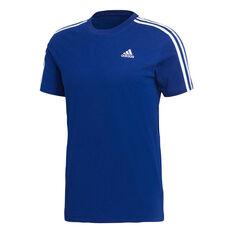 adidas Mens Essential 3 Stripes Tee Blue / White S, Blue / White, rebel_hi-res
