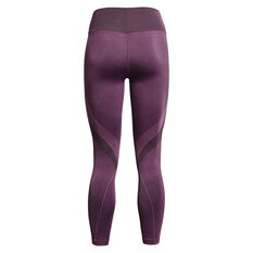 Under Armour Womens UA Rush Seamless Ankle Tights Purple XS, Purple, rebel_hi-res