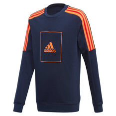 adidas Boys Athletics Clubs Crew Sweatshirt Navy 8, Navy, rebel_hi-res