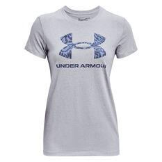 Under Armour Womens Print Graphic Tee Grey XS, Grey, rebel_hi-res