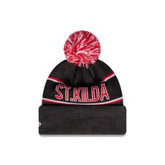 St. Kilda Saints New Era Supporter Beanie Black/Red OSFA, , rebel_hi-res