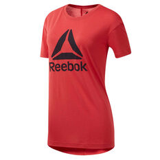 Reebok Womens Workout Read Supremium 2.0 Tee Red XS, Red, rebel_hi-res