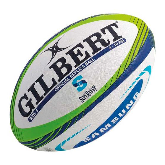 Gilbert Super Rugby Replica Ball White / Green  5, , rebel_hi-res