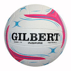 Gilbert Inspire Pink Training Netball White 4, White, rebel_hi-res