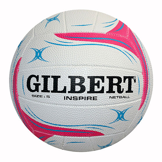 Gilbert Inspire Pink Training Netball, White, rebel_hi-res