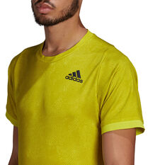 adidas Mens Freelift Tennis T-Shirt, Yellow, rebel_hi-res