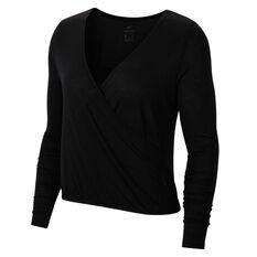 Nike Womens Yoga Long Sleeve Top Black XS, Black, rebel_hi-res