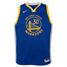 Nike Golden State Warriors Stephen Curry 2019/20 Kids Icon Edition Swingman Jersey Blue / Yellow S, Blue / Yellow, rebel_hi-res