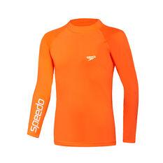 Speedo Boys Safety Long Sleeve Rash Vest, Orange, rebel_hi-res