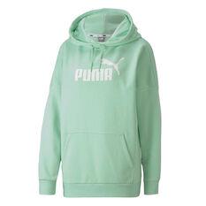 Puma Womens Essentials Plus Elongated Hoodie Green XS, Green, rebel_hi-res