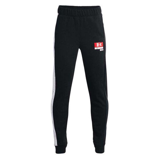 Under Armour Boys Baseline Fleece Pants, Black/Grey, rebel_hi-res