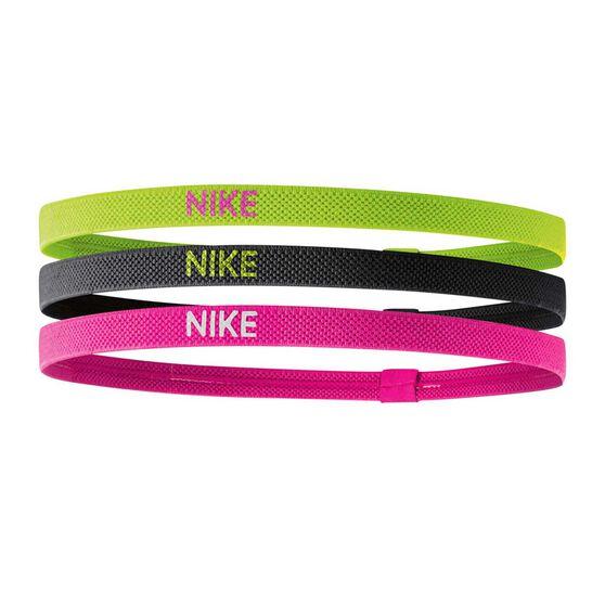 Nike Womens Elastic Headbands 3 Pack Black / Volt OSFA, , rebel_hi-res