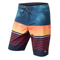 Quiksilver Mens Highline Swell Vision 2 Boardshorts Blue / Orange 30, Blue / Orange, rebel_hi-res