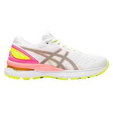 Asics GEL Nimbus 22 Lite Show Womens Running Shoes White/Coral US 6, White/Coral, rebel_hi-res
