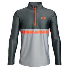Under Armour Boys Tech Half Zip Training Top Grey / Orange XS, Grey / Orange, rebel_hi-res