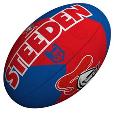 Steeden NRL Newcastle Knights Supporter Rugby League Ball Blue/Red 5, , rebel_hi-res
