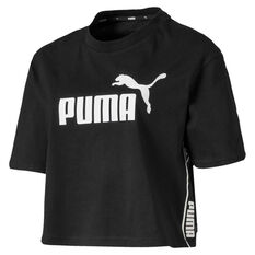 Puma Womens Amplified Cropped Tee Black XS, Black, rebel_hi-res