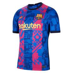 FC Barcelona 2021/22 Mens Replica 3rd Jersey Blue/Red S, Blue/Red, rebel_hi-res