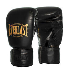 Everlast Bronx Leather Bag Boxing Gloves Black S / M, Black, rebel_hi-res