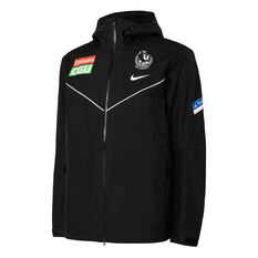 Collingwood Magpies 2021 Mens Wet Weather Jacket Black S, Black, rebel_hi-res
