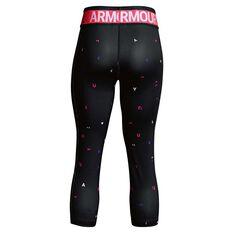 Under Armour Girls HeatGear Armour Capri Black / Pink XS, Black / Pink, rebel_hi-res