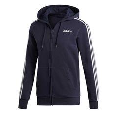 adidas Mens Essentials 3-Stripes Fleece Hoodie Navy / White S, Navy / White, rebel_hi-res