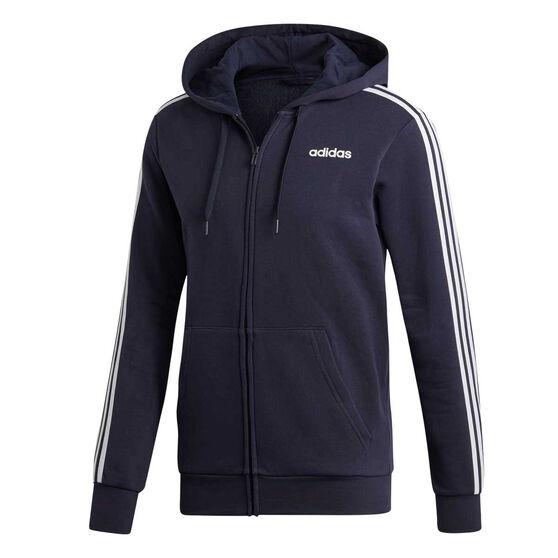 adidas Mens Essentials 3-Stripes Fleece Hoodie, Navy / White, rebel_hi-res