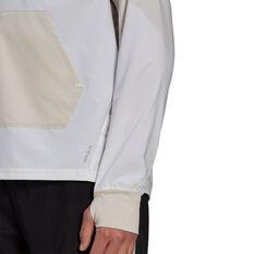 adidas Mens Primeblue Half Zip Running Jacket, White, rebel_hi-res