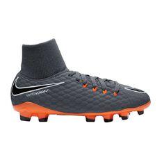 Nike Hypervenom Phantom III Academy Junior Football Boots Grey / Orange US 10 Junior, Grey / Orange, rebel_hi-res