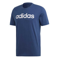 adidas Mens Essentials Linear Tee Blue S, Blue, rebel_hi-res