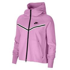 Nike Womens Windrunner Tech Fleece Full Zip Hoodie Pink XS, Pink, rebel_hi-res