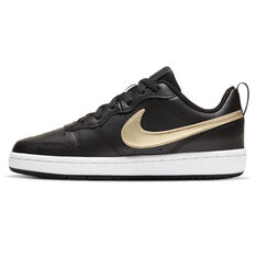 Nike Court Borough Low 2 Kids Casual Shoes Black/Gold US 4, Black/Gold, rebel_hi-res