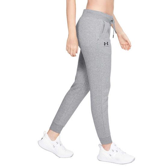 Under Armour Womens Rival Fleece Graphic Track Pants Grey XXL, Grey, rebel_hi-res